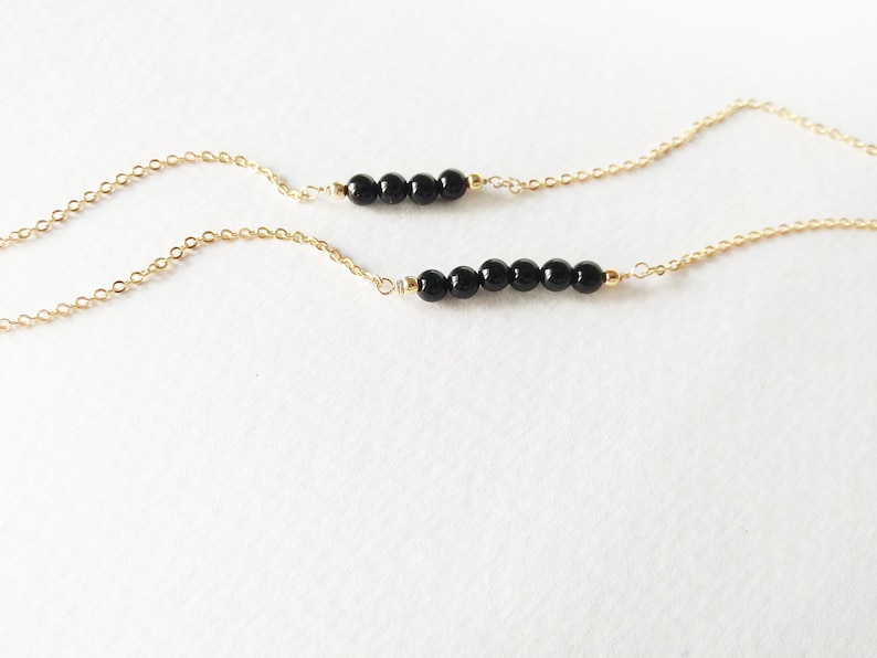 Black Onyx Necklace Silver Filled Layered Necklace Beaded Necklace 14k Gold Filled Bestfriend Gift Choker Necklace Girlfriend gift