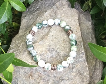 Fairly traded materials only - Stretch bracelet, Tree agates + pewter,  Abundance + Inner peace