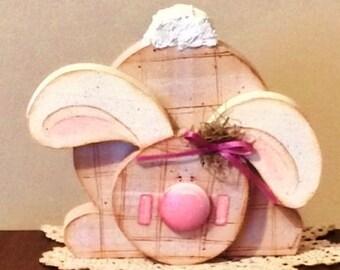 Rabbit Shelf Sitter, Easter Decorations, Rabbit for Easter, Bunny Rabbit, Hand Painted Rabbit, Shelf Sitter