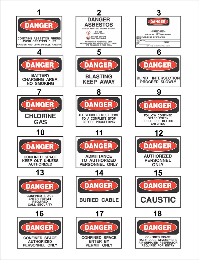 12 x 18 Safety Danger Signs