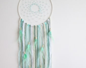 Large teal dream catcher, teal wall hanging, boho dream catcher, boho wall hanging, boho wall decor, nursery wall hanging, bohemian decor