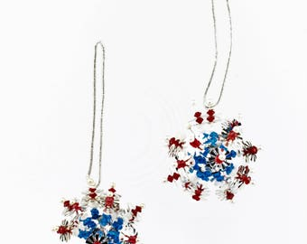 Two Vintage Atomic/Sputnik Sequined Red, White, and Blue Christmas Tree Ornaments