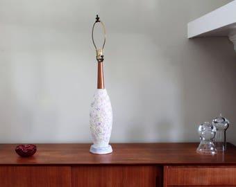 Midcentury Modern Plasto Manufacturing Company Textured Chalkware/Wood Lamp