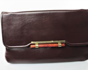 Embrayage Convertible simili cuir marron vintage avec des Accents en laiton-tonique/Faux Quartzite/Copal Orange