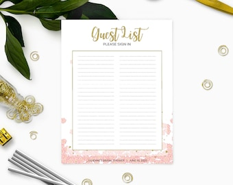 printable guest list sign in pink and gold bridal shower sign in sheet floral