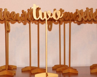 Table Numbers - Gold Table Numbers  - Wedding Table Number - Golden table numbers - Table Number - Freestanding