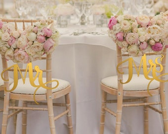 Mr and Mrs Sign Bride Groom Signs Chair Signs Wedding Chair Sign Classic Gold or Silver Wood Wedding Reception Chair Signs Set Wedding Signs & I Love You I know Chair Signs Wedding Chair Signs Wedding