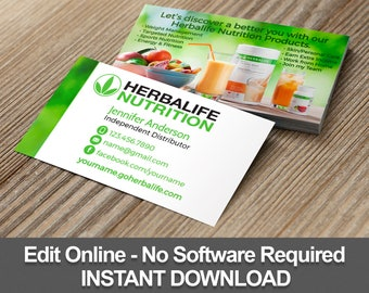 Herbalife Business Cards Editable Template Instant Download