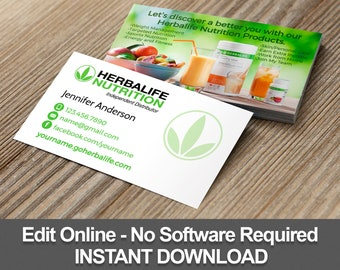 Herbalife Business Cards Editable Template Instant Download Text