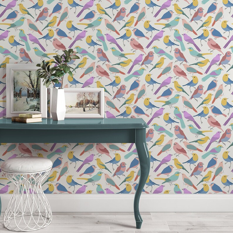 Self Adhesive Removeable 504 Wallpaper Roll Colorful Bird Wallpaper Birds Wallpaper Removable Wallpaper Peel and Stick Wallpaper