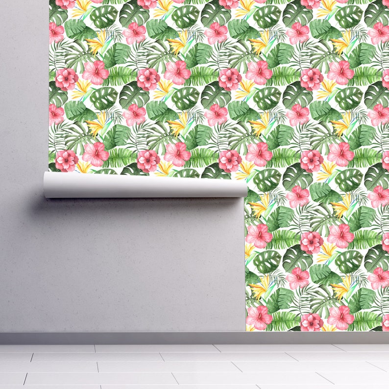 Floral Hibiscus Peel and Stick Wallpaper Panel Tropical Wallpaper Removable Wallpaper Self Adhesive Roll Palm Leaves Wallpaper 521