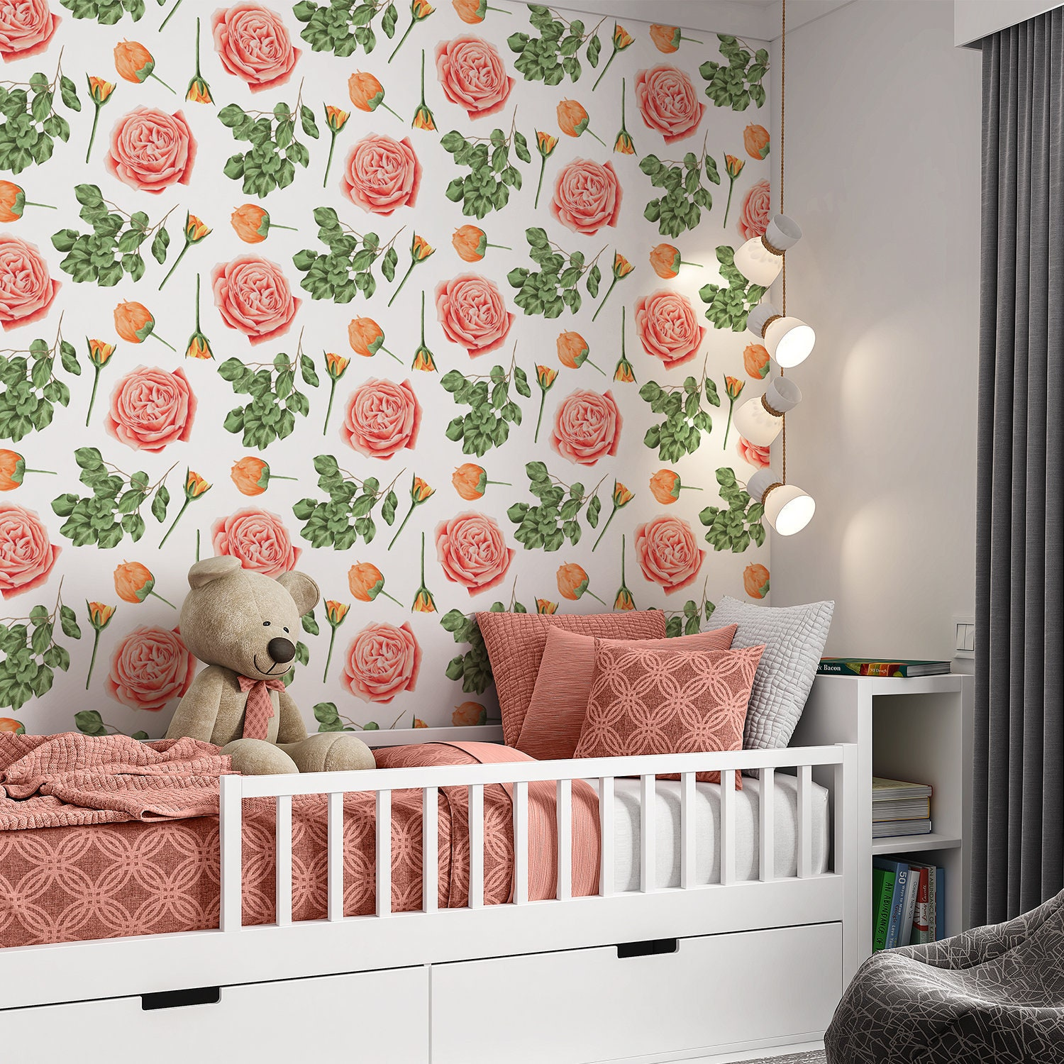 Coral Rose Floral Wallpaper Rose Wallpaper Removable Peel Etsy