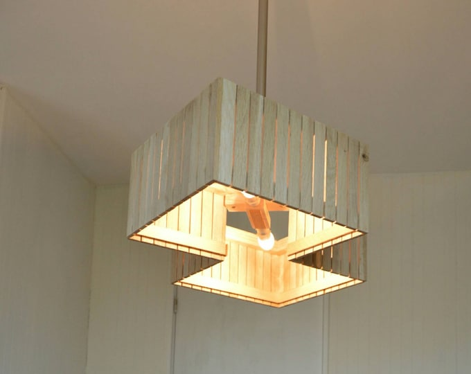 Big pendant wooden design lamp, recycled wood, oak wood, metal, Jaimar by Lune et Animo