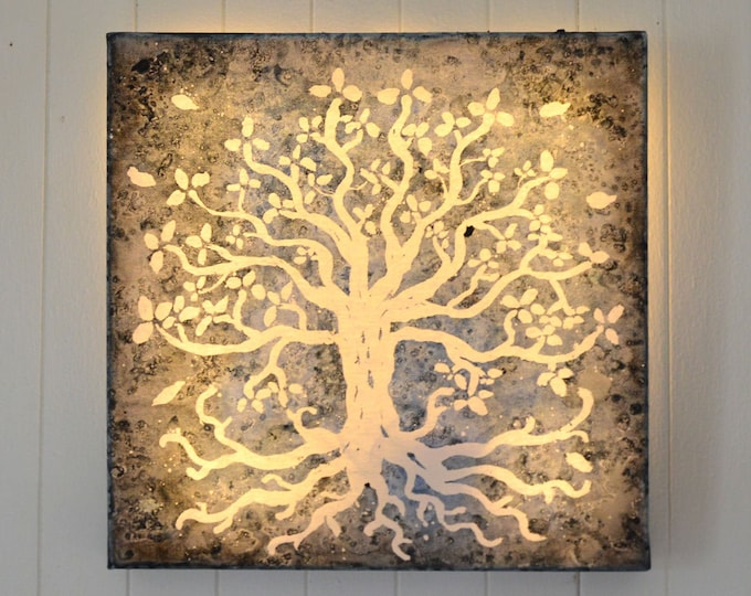 Led art canvas, mural decoration, 'Tree of life'