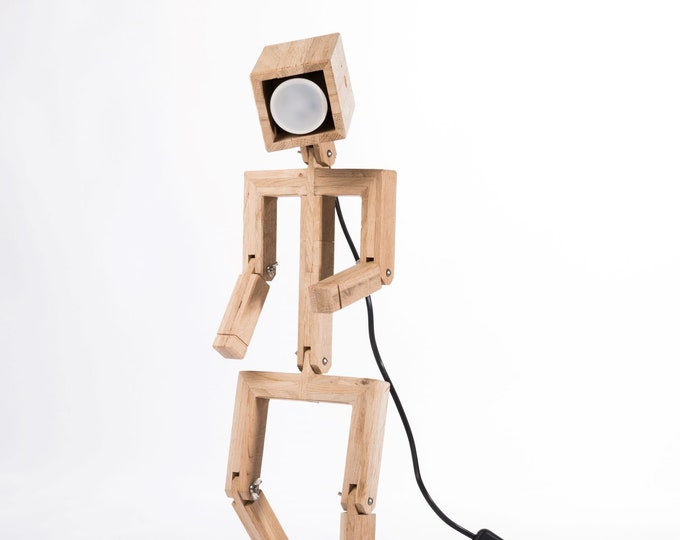 JAFFU // Wooden articulated design lamp in the form of a personage, recycled oak wood, LED color and remote control,  by Lune et Animo