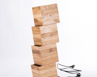 Wooden design floor lamp from recycled wood. 'Nemmnom'