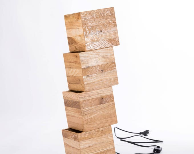 Nemmnom // Wooden design floor lamp from recycled wood 50cm