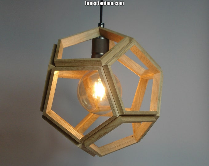 DODECA // Wooden design pendant lamp, in the shape of a Dodecahedron