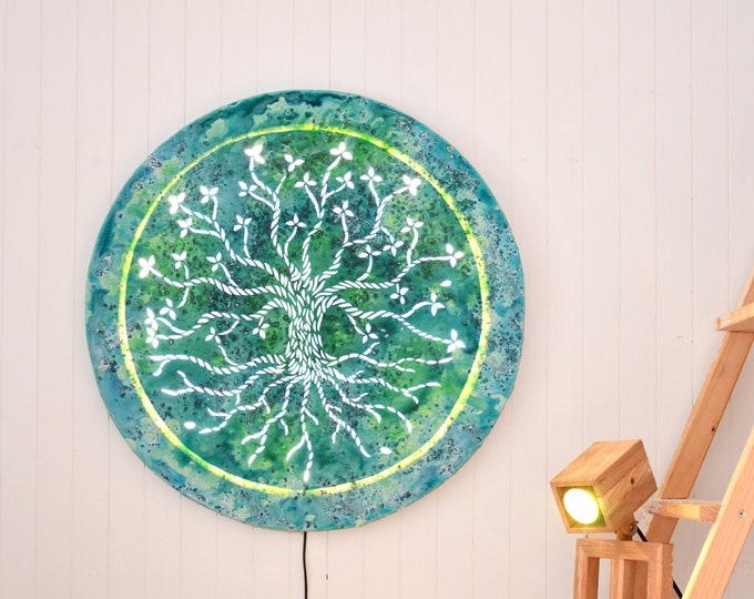 Round Led canvas art, tree of life, 60cm diameter