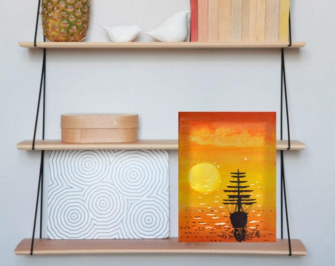 Led canvas art 'Sailboat on sunset'