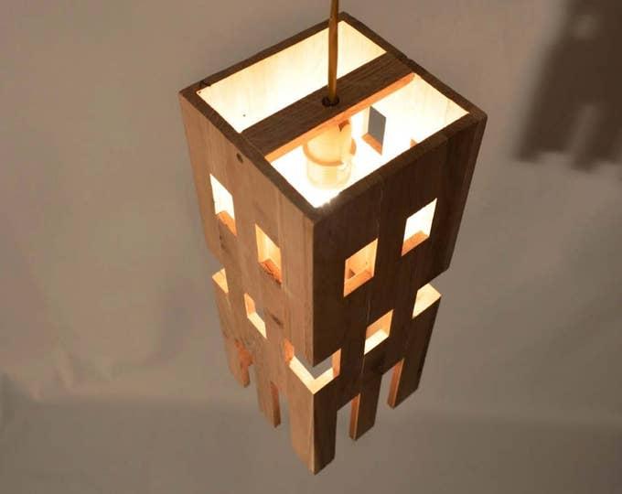 Design pendant lamp in recycled oak wood, original design, bar lamp,  ACHYA by Lune et Animo