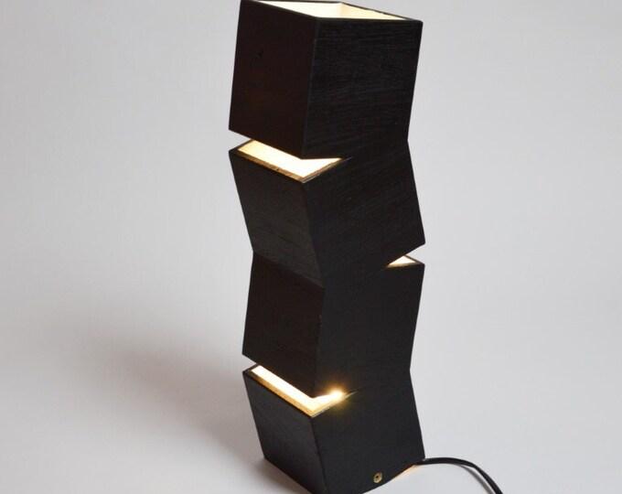 Black Lighttall Wooden Design Floor Lamp