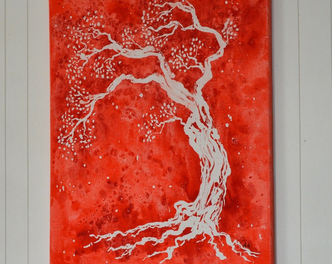 Canvas 'Tree of life on red background', mural decoration