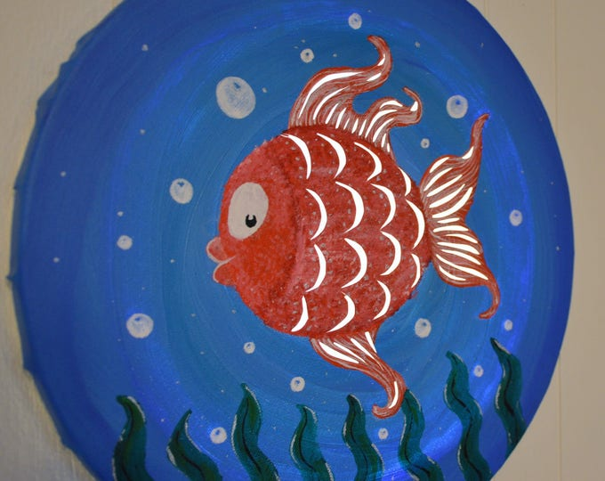 Led cut round canvas art for children's room decoration 'Red fish'
