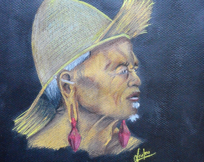 Ethnic portrait with pencils 'Old indonesian man'
