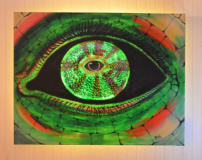Led canvas painting 'Chameleon', wall decoration