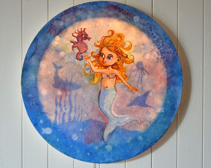 Led round canvas art for children's room decoration 'Mermaid'