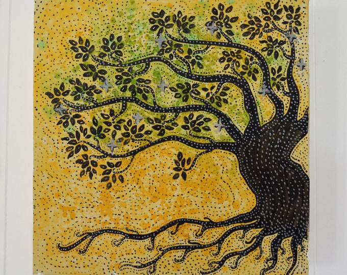 Tree of life, Blakc and yellow, Mural decoration
