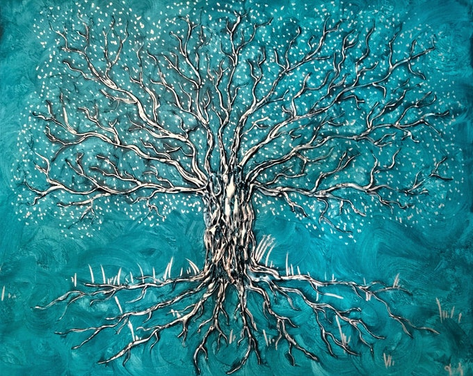 Canvas 'Tree of life with relief silver and blue', mural decoration
