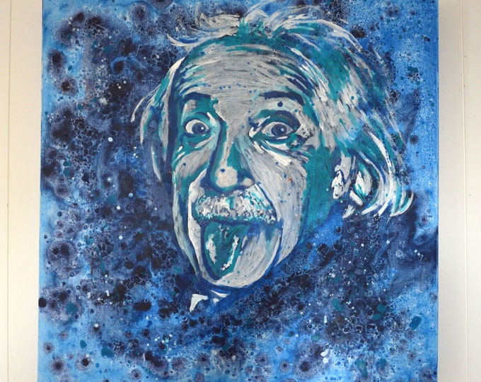 Portrait of Albert Einstein , Original painting canvas wall art, 'Blue Einstein'