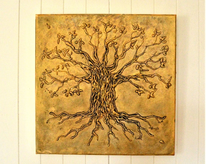 Tree of life, acrylic painting, metallic effect