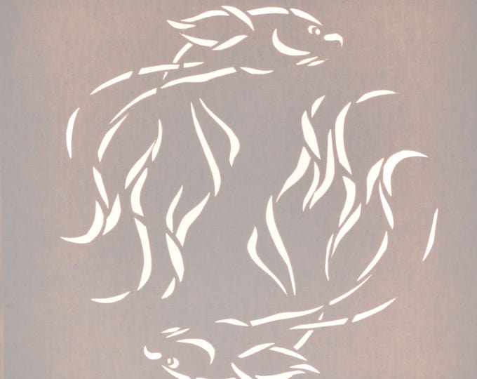 Led cut canvas art 'Japanese fishes', wall decoration