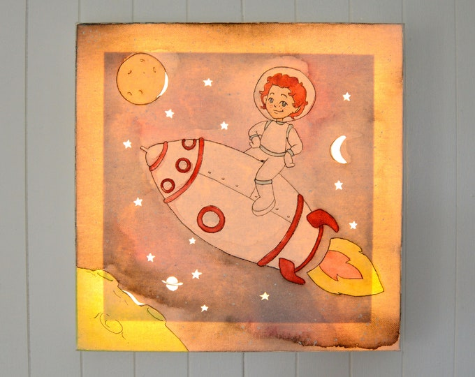 LED light wall art canvas, 'Astronaut' children's room decoration
