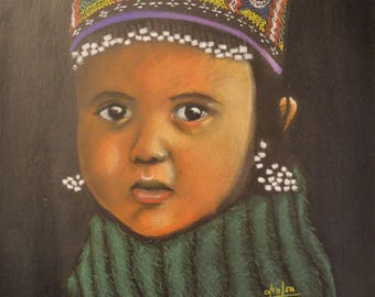 Ethnic portrait in pastels dry 'girl Pakistan'
