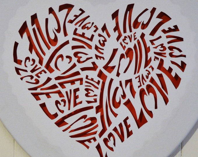 Led cut canvas wall art 'Love in a heart'