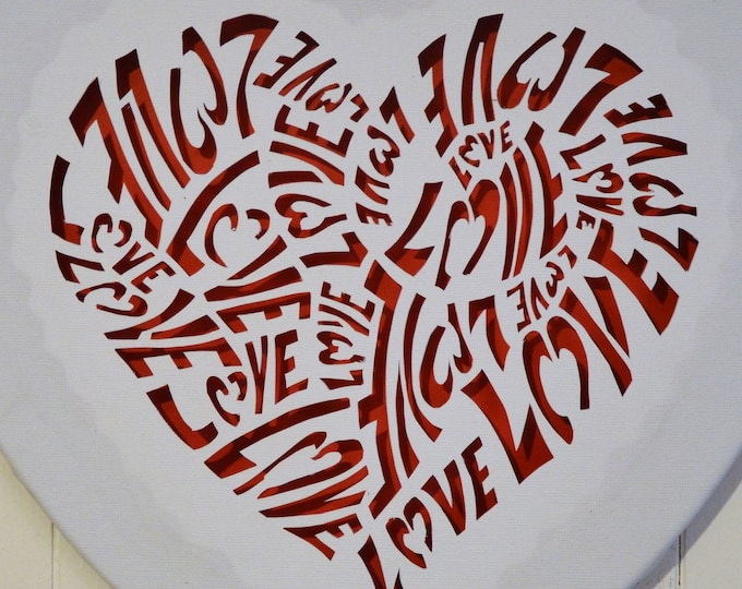Led cut canvas art 'Love in a heart'