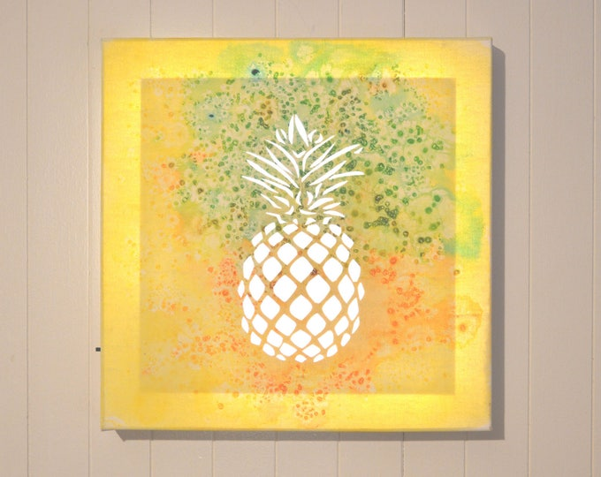 Led art cut canvas, mural decoration, 'Pineappale'