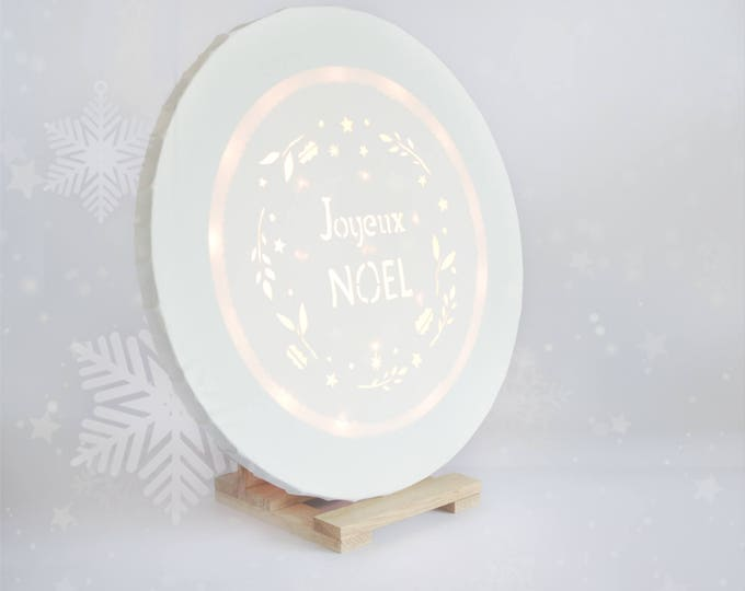 Christmas decoration, Led Christmas canvas wall art 'Joyeux Noël'