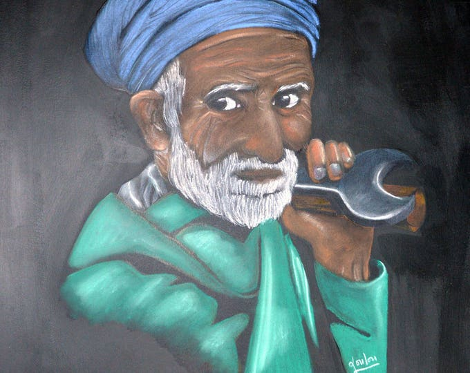 Portrait drawing with pastels, ethnic 'Pakistan old man'