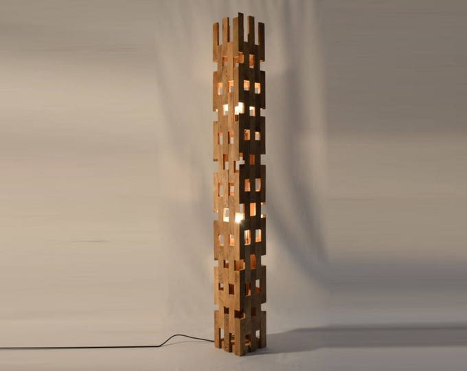 Shubcthu // Large lamppost, recycled oak wood design lamp 100cm