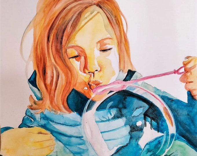 Watercolour portrait of child doing bubbles