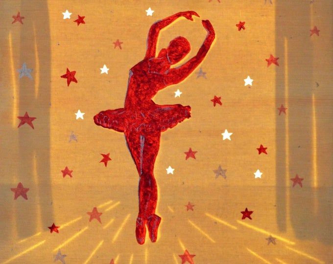 Led painting cut canvas 'Ballet dancer', mural decoration for child room