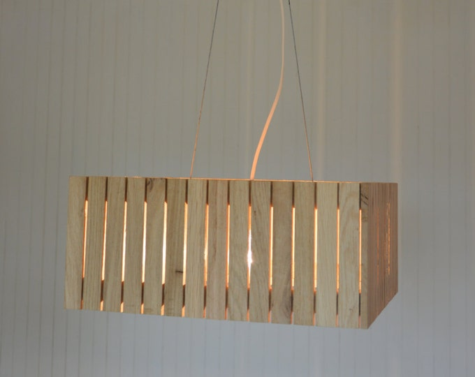 Wooden design lamp, pendant lamp, wooden lamp shade, Heutso by Lune et Animo