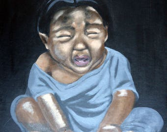 Portrait ethnic 'child crying', Acrylic paint