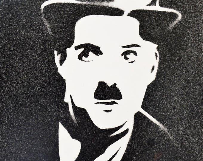 'Charlie Chaplin' bomb stencil portrait