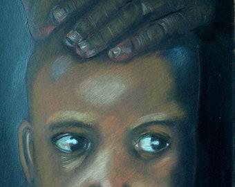 Ethnic portrait with pencils 'Aisha'